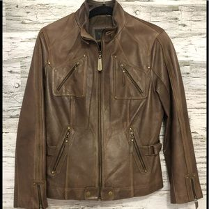 Terra Nostra fitted genuine leather jacket